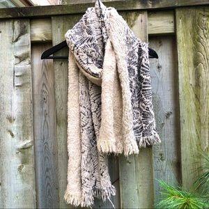 Warm Cream, Gold w/ Black Warm Knit Viscose Scarf